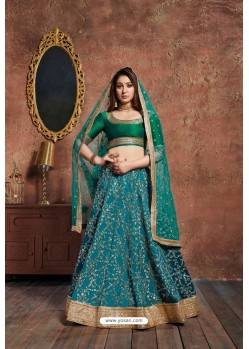 Teal And Dark Green Art Silk Embroidered Designer Lehenga Choli