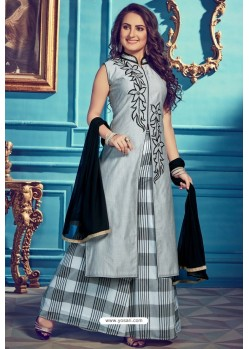 Grey Chanderi Silk Designer Palazzo Suits