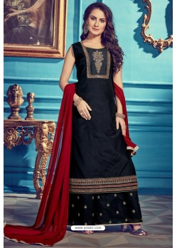 Navy And Black Chanderi Silk Designer Palazzo Suits