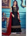 Navy And Black Chanderi Silk Designer Palazzo Suits