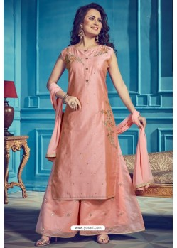 Peach Chanderi Silk Designer Palazzo Suits