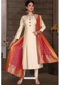 Off White Chanderi Silk Designer Churidar Suit
