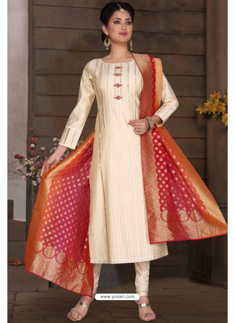 Buy Off White Chanderi Silk Designer Churidar Suit Churidar Salwar Suits