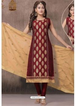 Maroon Chanderi Silk Designer Churidar Suit