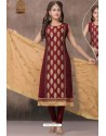 Maroon Chanderi Silk Designer Churidar Suit