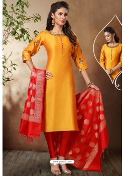 Perfect Yellow Banarasi Chanderi Designer Churidar Suit