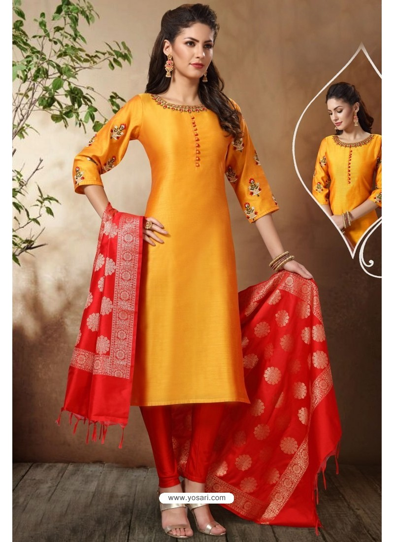 Perfect Yellow Banarasi Chanderi Designer Churidar Suit