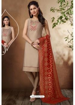 Beige Banarasi Chanderi Designer Churidar Suit