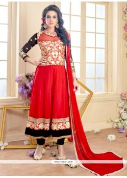 Heavenly Georgette Red Anarkali Suit