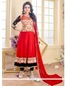 Heavenly Georgette Red Anarkali Suit
