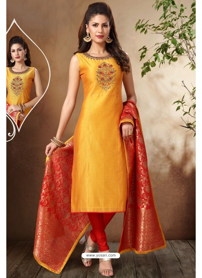 Yellow Banarasi Chanderi Hand Embroidered Designer Churidar Suit
