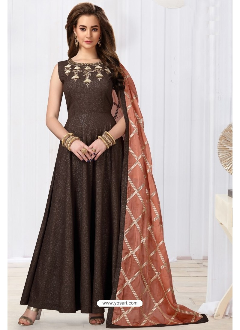 Coffee Jacquard Silk Designer Floor Length Suit