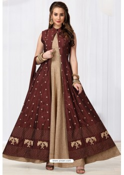 Beige And Maroon Chanderi Silk Designer Floor Length Suit
