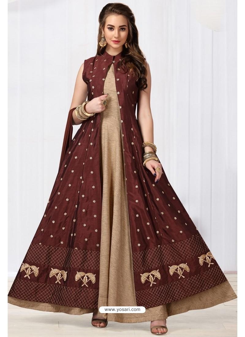 Beige And Maroon Chanderi Silk Designer Floor Length Suit