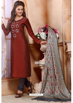 Wine Chanderi Silk Designer Churidar Suit