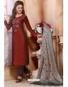 Wine Chanderi Silk Designer Churidar Suit