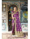 Purple Pure Weaving Silk Designer Saree