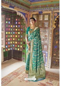 Teal Pure Weaving Silk Designer Saree