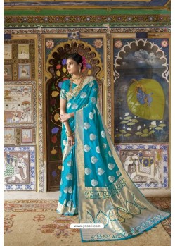 Sky Blue Pure Weaving Silk Designer Saree