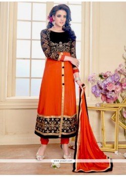 Jazzy Orange Zari Work Georgette Anarkali Salwar Suit
