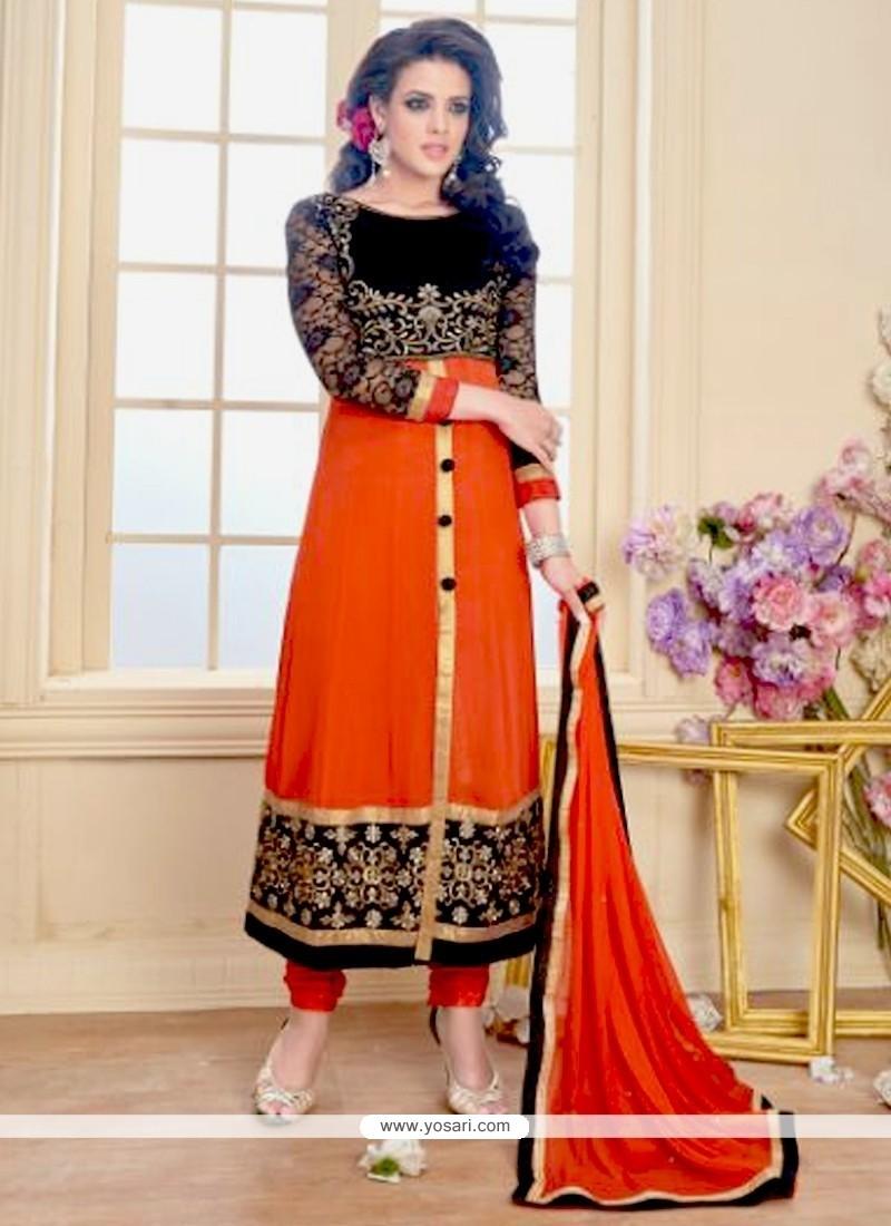 Jazzy Orange Zari Work Georgette Anarkali Salwar Suit