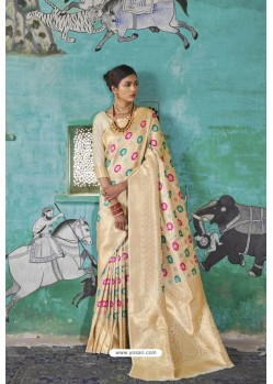 Off White Pure Weaving Silk Designer Saree