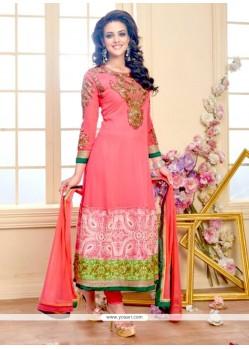 Astounding Georgette Hot Pink Anarkali Salwar Kameez