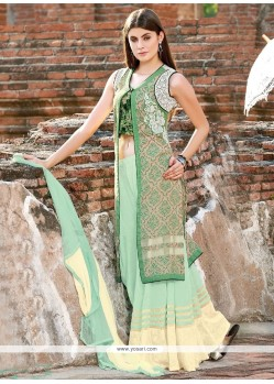 Celestial Cotton Satin Cream And Green Embroidered Work Designer Palazzo Suit