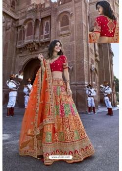 Red And Multi Silk Heavy Embroidered Bridal Lehenga Choli