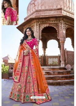 Fuchsia Silk Heavy Embroidered Bridal Lehenga Choli