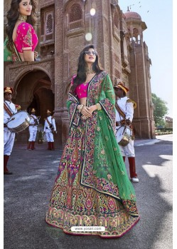 Multi Colour Silk Heavy Embroidered Bridal Lehenga Choli