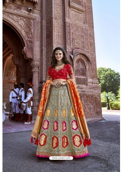 Red And Grey Silk Heavy Embroidered Bridal Lehenga Choli