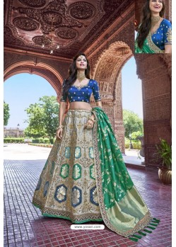 Peacock Blue And Grey Silk Heavy Embroidered Bridal Lehenga Choli