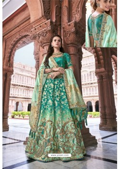 Aqua Mint Silk Heavy Embroidered Bridal Lehenga Choli