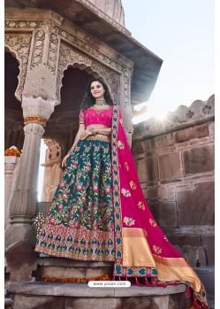 Rani And Teal Silk Heavy Embroidered Bridal Lehenga Choli