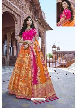 Rani And Orange Silk Heavy Embroidered Bridal Lehenga Choli