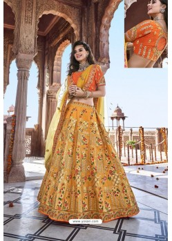 Yellow Silk Heavy Embroidered Bridal Lehenga Choli