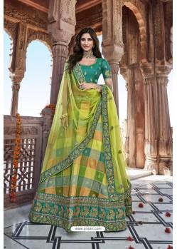 Green And Multi Colour Silk Heavy Embroidered Bridal Lehenga Choli