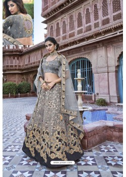 Grey Silk Heavy Embroidered Bridal Lehenga Choli