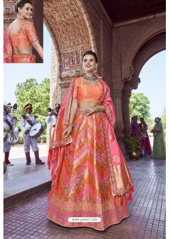 Orange Silk Heavy Embroidered Bridal Lehenga Choli
