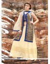 Lively Cotton Satin Cream And Blue Resham Work Designer Palazzo Salwar Kameez
