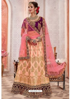 Peach And Purple Silk Zari Worked Designer Lehenga Choli