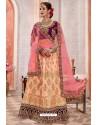 Peach And Purple Silk Zari Worked Designer Lehenga Choli