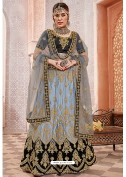 Blue And Black Silk Zari Worked Designer Lehenga Choli