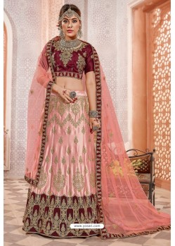 Pink And Maroon Silk Zari Worked Designer Lehenga Choli