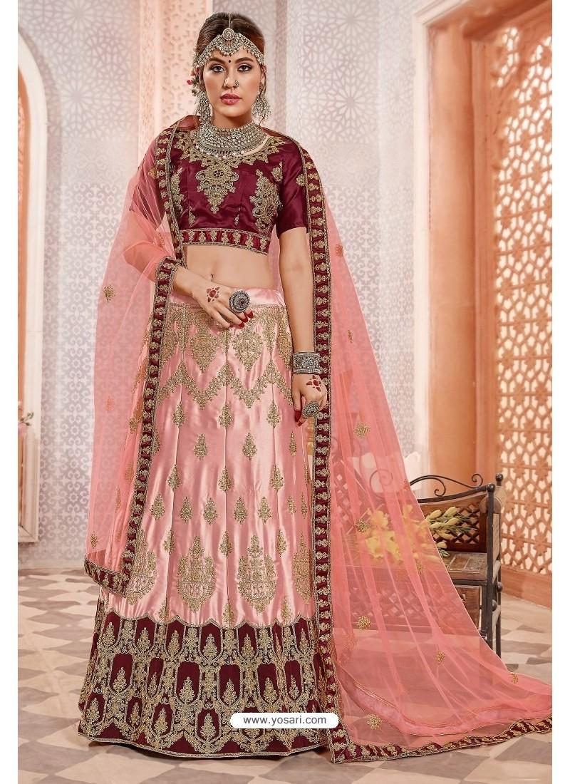 Pink And Maroon Silk Zari Worked Designer Lehenga Choli