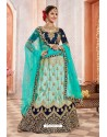 Firozi And Navy Silk Zari Worked Designer Lehenga Choli