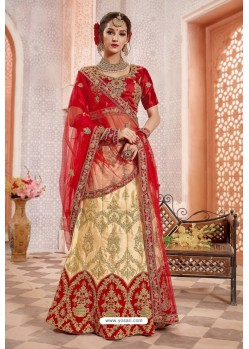 Beige And Red Silk Zari Worked Designer Lehenga Choli