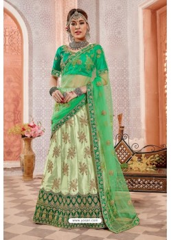 Green Silk Zari Worked Designer Lehenga Choli