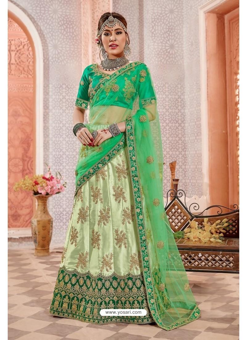 Green Silk Zari Worked Designer Lehenga Choli
